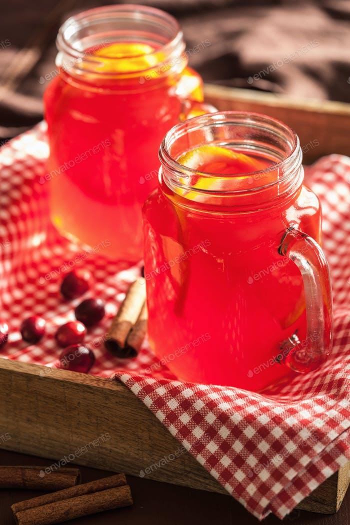 hot cranberry tea with orange cinnamon warming drink