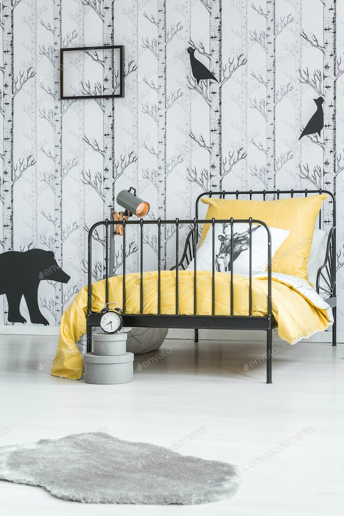 Kid's bed with yellow overlay