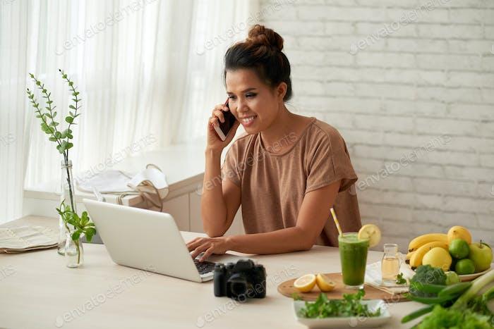 Blogger at work