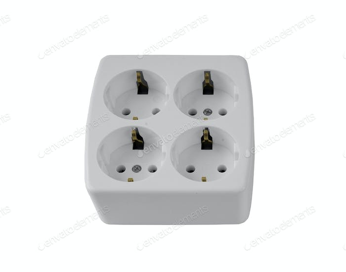 The electric adapter isolated on a white background