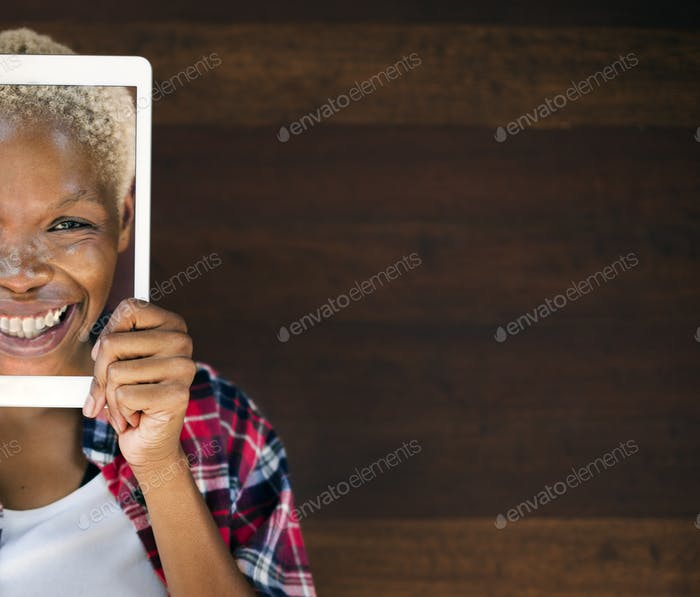 African Woman Digital Tablet Face Covered Smiling Technology Con