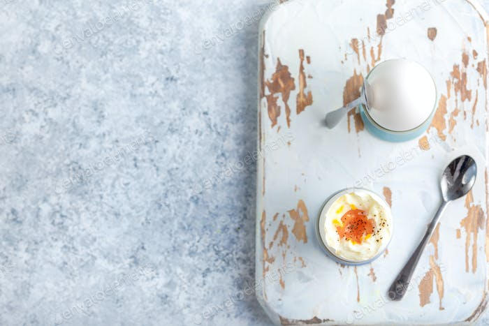 Fresh soft boiled eggs