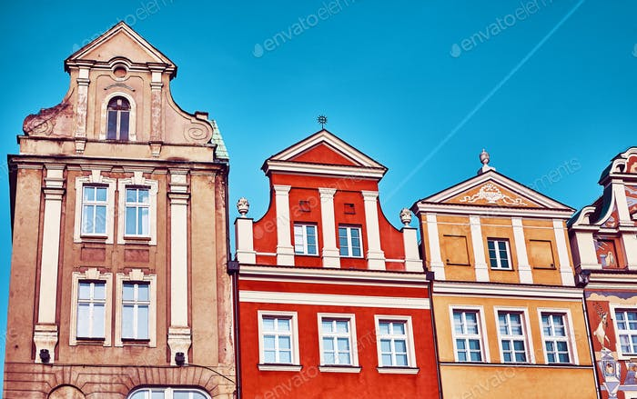 Houses at Poznan Old Market Square, Poland.