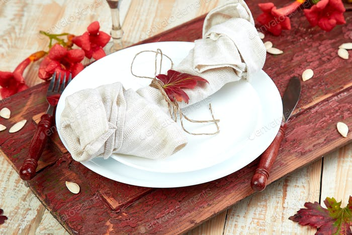 Fall table setting for Thanksgiving day celebration
