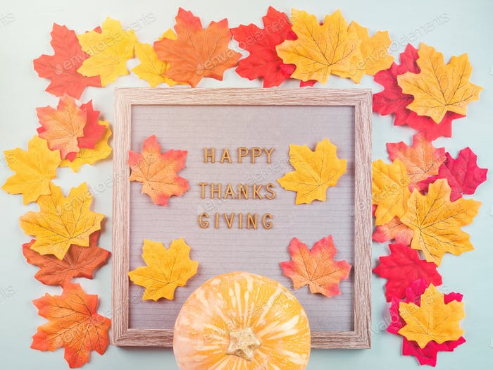 Happy thanksgiving greetings on letter board