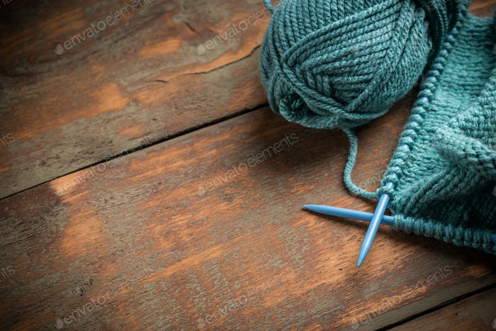 Thumbnail for Woollen thread and knitting needle