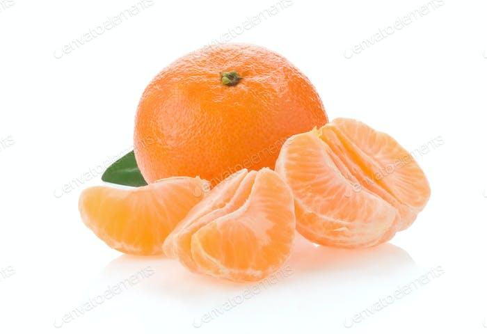 tangerine orange fruit and slices isolated on white