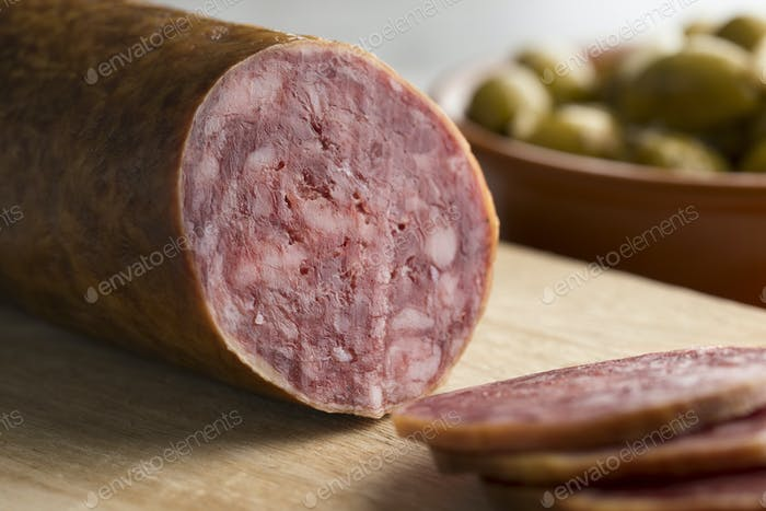 Traditional piece of Spanish Salchichon sausage