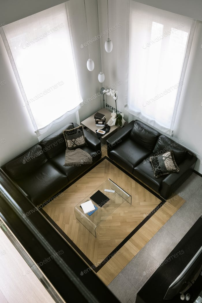 Interiors of  the Modern Living Room  With Wood Floor