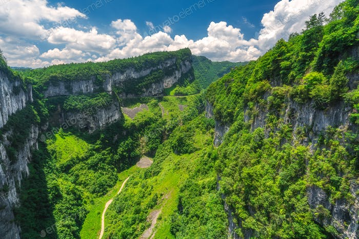 Panoramic view of the Wulong National Park landscape