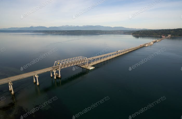 Hood Canal Bridge Puget Sound Shoreline Olympic Mountain Range