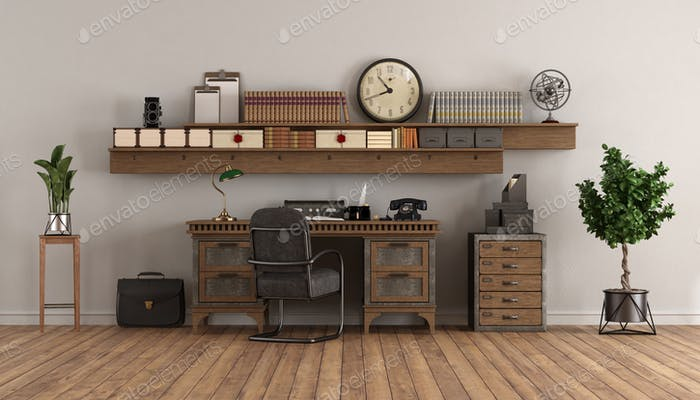 home office in retro style with old desk