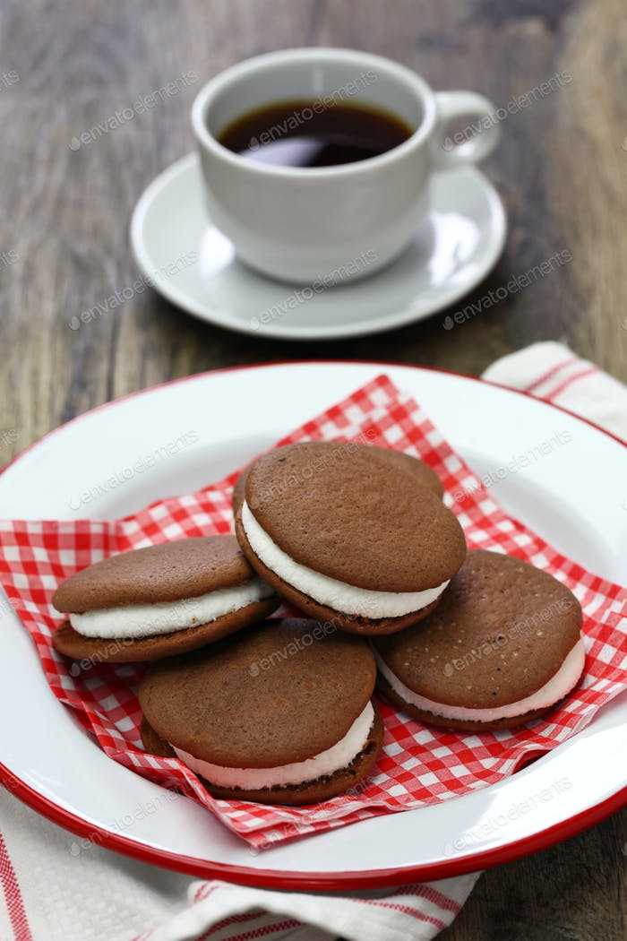 homemade chocolate whoopie pie with marshmallow filling