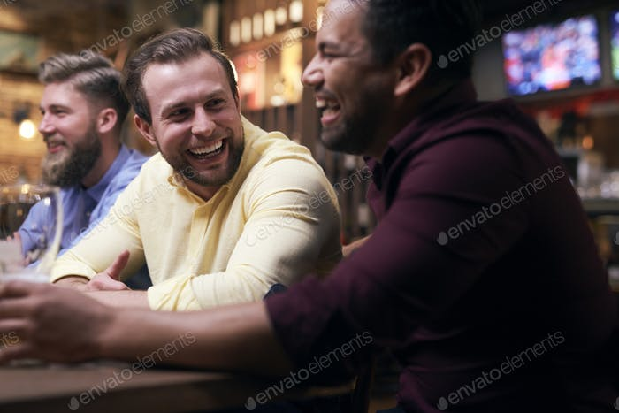Leisure time with friends in the pub
