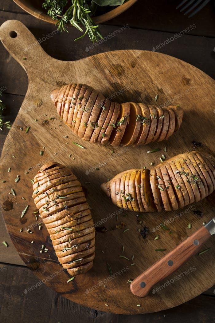 Homemade Organic Hasselback Sweet Potato