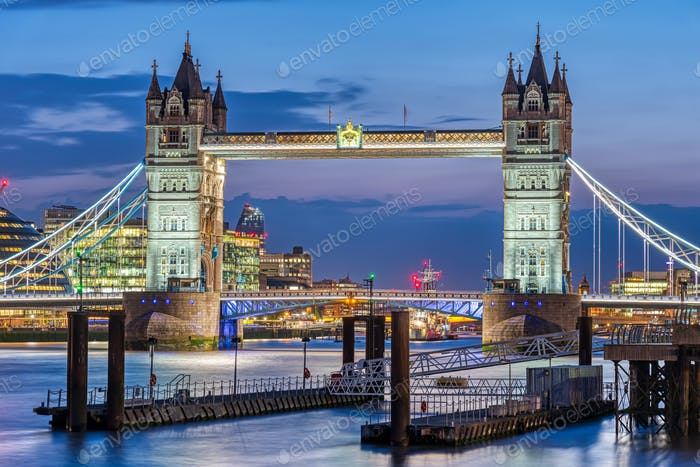 The famous illuminated Tower Bridge in London