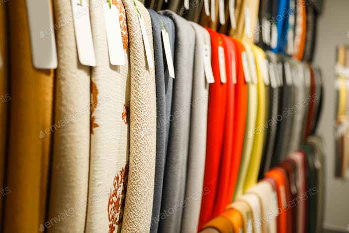 Colorful fabric textile on showcase in store