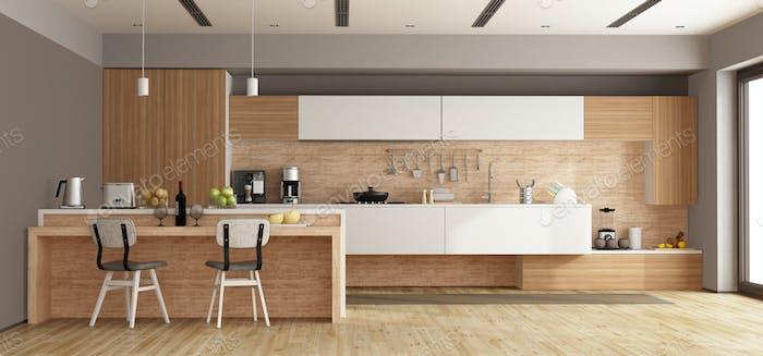 Cocina Moderno Blanca Y De De Madera Con Isla Representacion 3d
