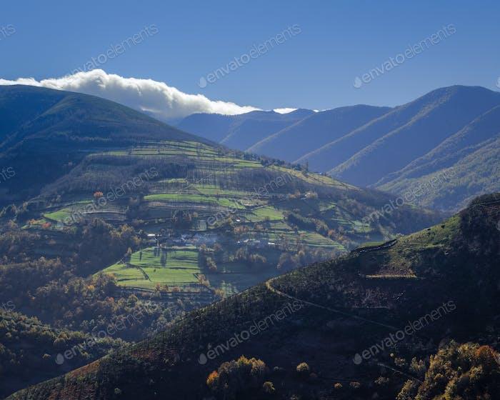 Midmountain countryside landscape