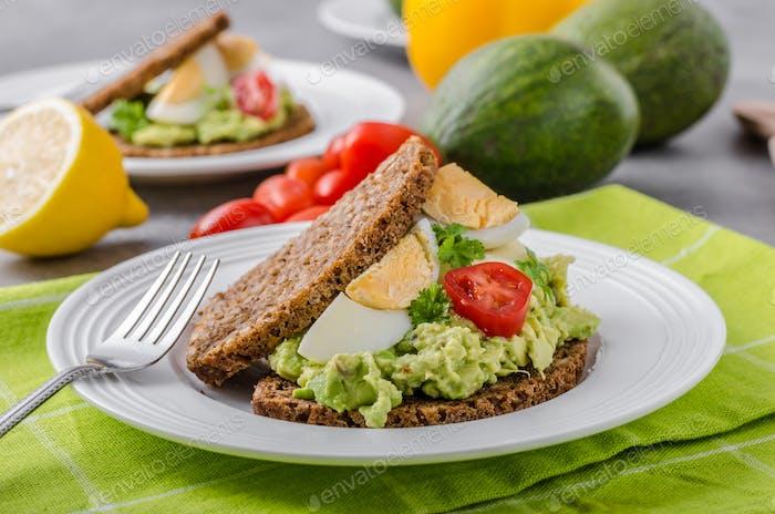 Healthy bread with avocado spread