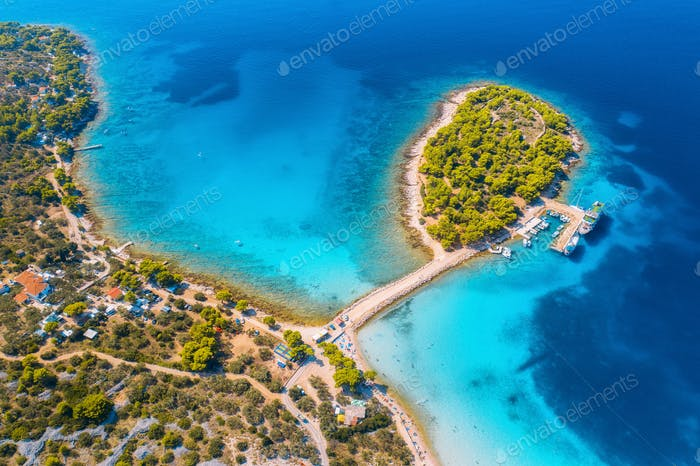 Aerial view of beutiful small island in sea bay at sunny day