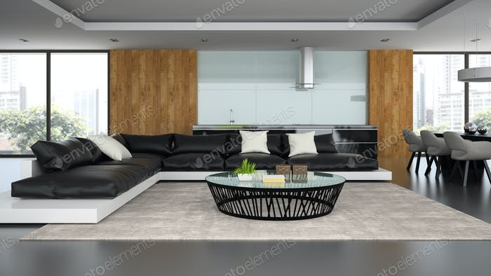 Interior modern design loft with black sofa 3D rendering