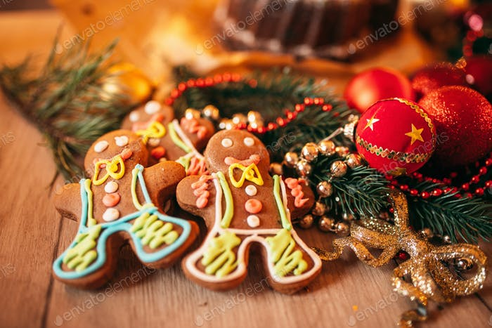 Xmas gingerbread man, holiday dessert closeup