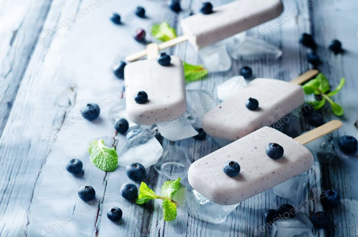Vanilla blueberry cream cheese ice cream with fresh blueberries