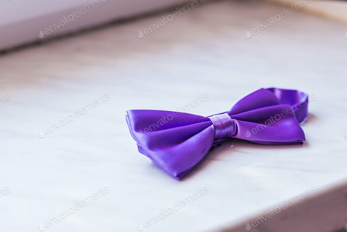 Purple bow close up