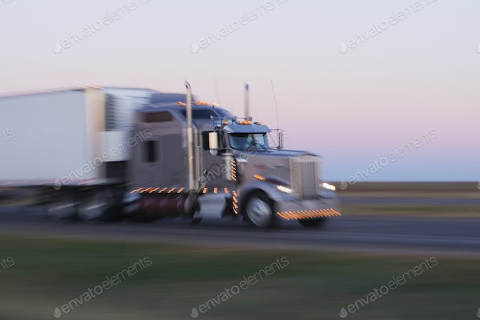 Truck on Texas Highway 287 at Sunrise