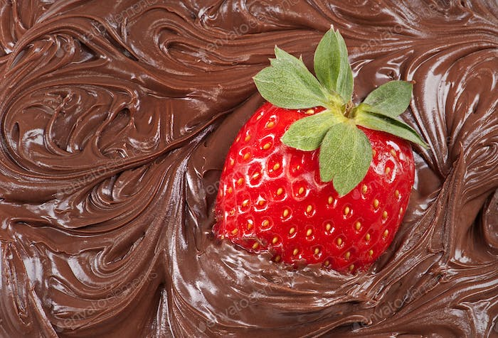 Strawberry with molten chocolate