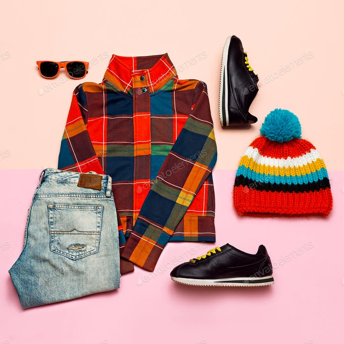 Set of clothes. Top view Checkered jacket and bright accessories