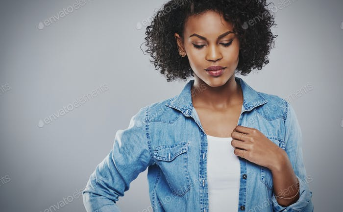 Pretty pensive African American woman