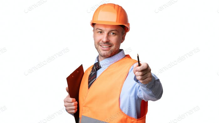 Housebuilder Offering Pen To Sign Labor Contract On White Background