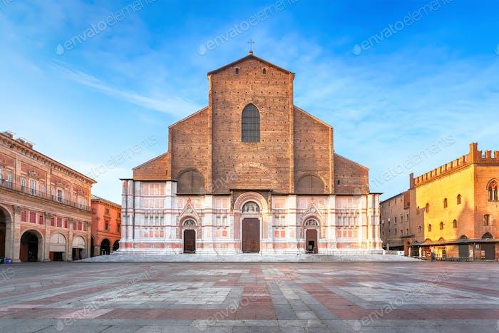 Bologna, Italy. View of Basilica di San Petronio