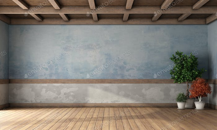 Empty retro room with old walls and wooden ceiling