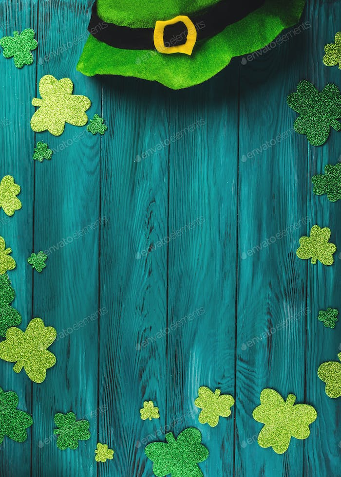 St Patrick Day dark green background with shamrock
