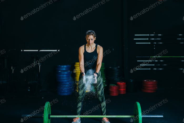 Magnesia powder and barbell.