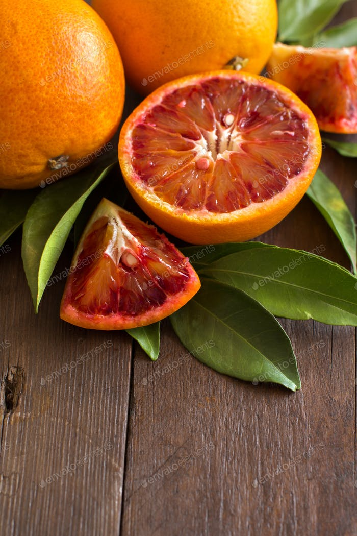 Fresh Sicilian  oranges with leaves