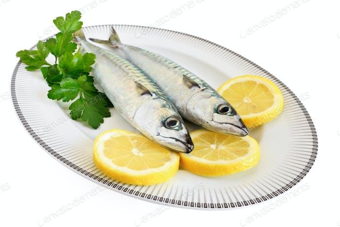 two mackerels on a plate