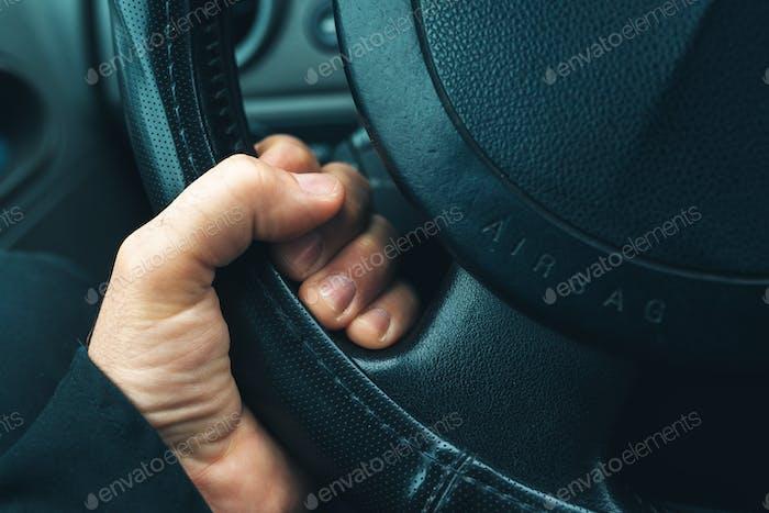 Car airbag on steering wheel