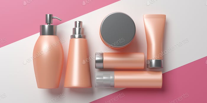 Blank cosmetics packages isolated on white and pink background, 3d illustration