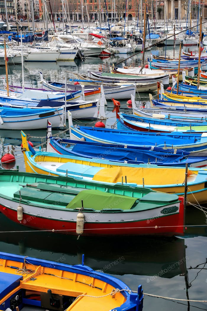 Colorful boats in the port of Nice, Cote d'Azur, French Riviera