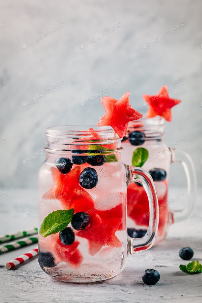 Infused detox water with watermelon, mint and blueberry.