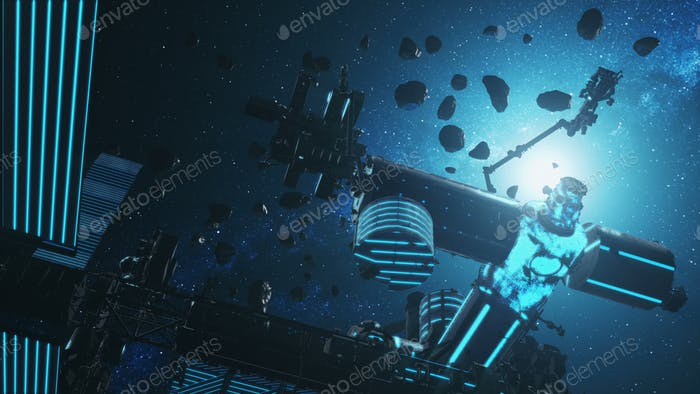 Asteroids silhouette at International Space Station with solar panels in outer space. Gravity fly