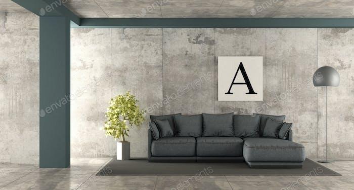 Minimalist living room with blue sofa