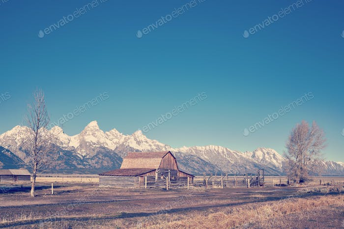 Retro stylized famous Grand Teton landscape, USA.