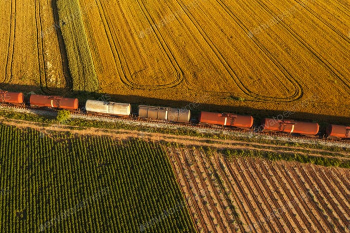 Rail freight transport aerial view