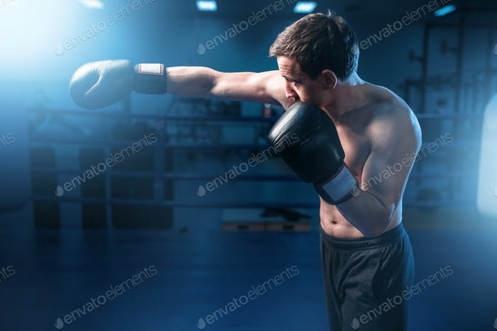 Muscular boxer in black gloves training in gym