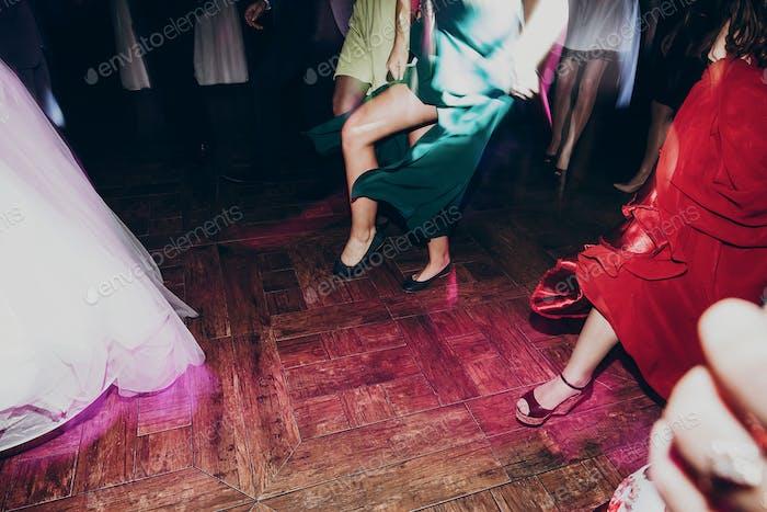 Happy dancing at wedding reception